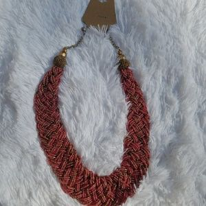 Jewelry - Braided Necklace Pink Brown Gold